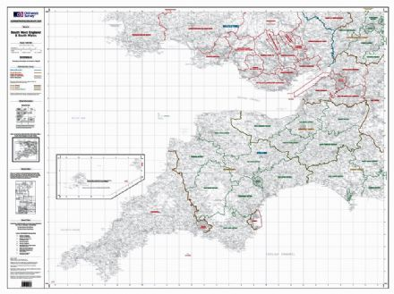OS Administrative Boundary Map Local Government - Sheet 8 - South West England and South Wales